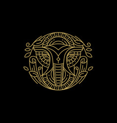 line art elephant design concept template vector image