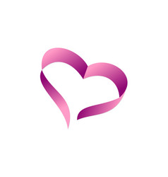 love heart ribbon logo vector image
