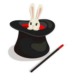 magic wand hat and bunny for a magic trick vector image
