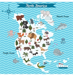 Map of North America continent with animals vector