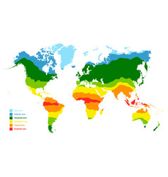 Map with world climate zones vector