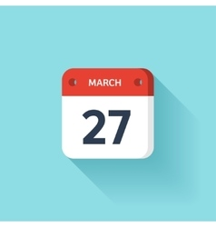 March 27 Isometric Calendar Icon With Shadow vector image