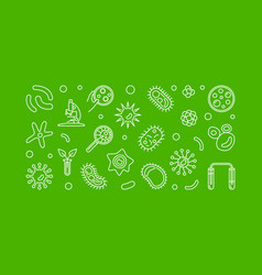microbiology outline on green vector image
