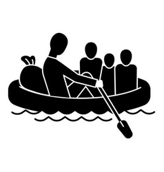 migrant family in boat icon simple style vector image