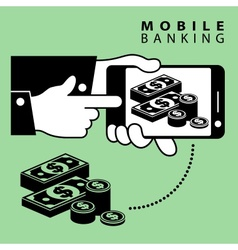 Mobile banking dollar vector
