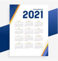 Modern 2021 calendar template design for new year vector