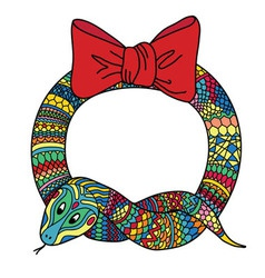 New year holidays snake wreath vector