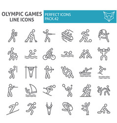 olympic games line icon set sport symbols vector image