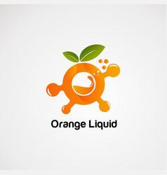 Orange liquid with bubble logo concept icon vector
