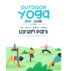 outdoor yoga flyer template for diverse people vector image