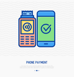 Phone payment thin line icon vector