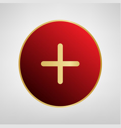 Positive symbol plus sign red icon on vector