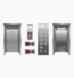 Realistic elevator cabin with closed open doors vector