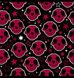 Red cartoon witchcraft cat skull seamless vector