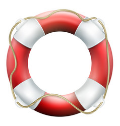 red life buoy with rope isolated on white vector image