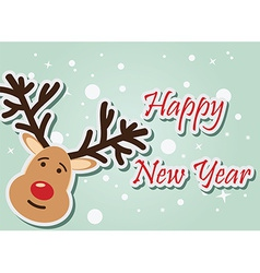 Reindeer Happy New Year vector