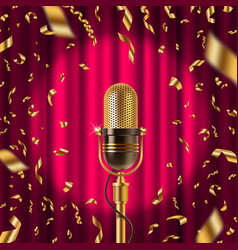 retro microphone on stage in spotligh vector image