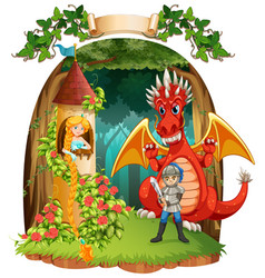 Scene with knight saving princess from the dragon vector