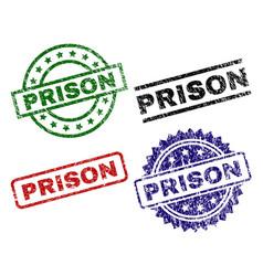Scratched textured prison stamp seals vector