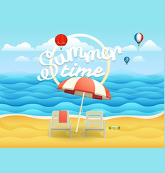 seaside with umbrella beach landscape vector image