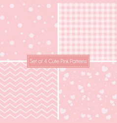 Set 4 cute pink patterns and textures vector