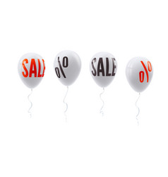 set of colored balloons with percent and sale sign vector image