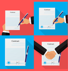 set of four different contracts backgrounds vector image
