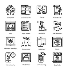 Set user interface line icons vector