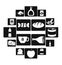 shop navigation foods icons set simple style vector image
