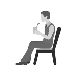Sitting Man Drinking Soda vector image