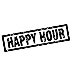 Square grunge black happy hour stamp vector