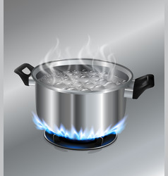 Stainless steel pot on the gas stove vector