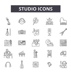 studio line icons signs set linear vector image