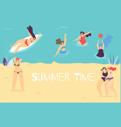 Summer time flat banner with body positive concept vector