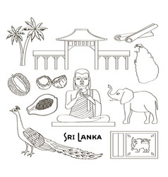 symbols of sri lanka icons set vector image