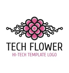 Tech flower template logo vector image