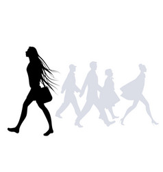 Teen girl with long hair in the wind walking on vector