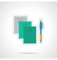 Textbooks and notebooks flat color icon vector