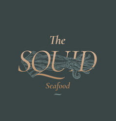 The squid seafood abstract sign symbol or vector