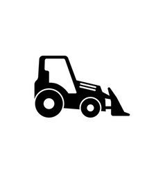 tractor with bucket bulldozer flat icon vector image