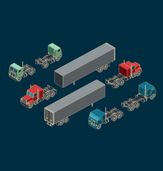 trucks and trailers mini set vector image