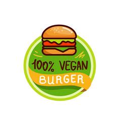 vegan burger and food logo menu vector image