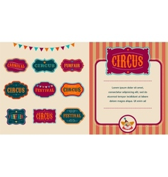 Vintage Circus labels set vector image