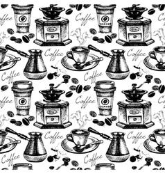 Vintage coffee seamless pattern vector