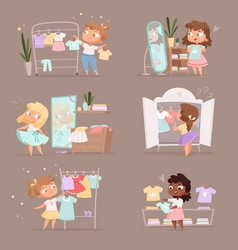 Wardrobe girl parent help choice clothes for kids vector