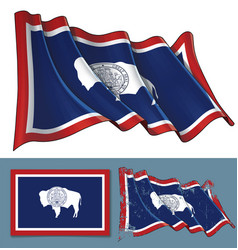 waving flag of the state of wyoming vector image