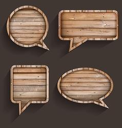 Wood sign of speech bubbles template design vector