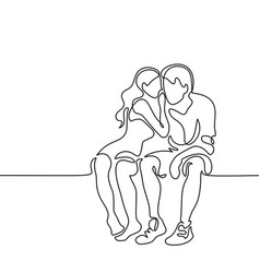 young couple in love sitting vector image