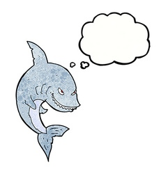 Funny cartoon shark with thought bubble vector