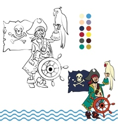 Pirate with his parrot vector image